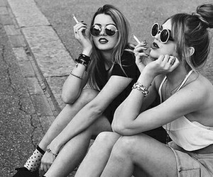 girl, friends, and smoke image