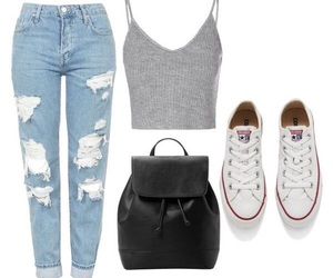 boyfriend jeans, clothing, and converse image