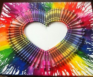 art, colour, and heart image