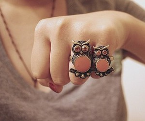 hand, owl, and owl ring image