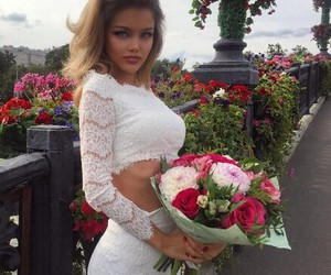blonde, woman, and flower image