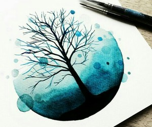 blue, tree, and art image