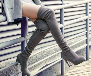 boots, grey, and style image