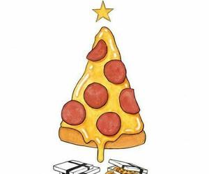 pizza, christmas, and food image