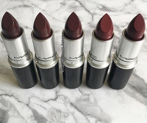 beauty, mac cosmetics, and red lipsticks image