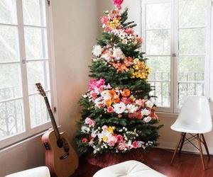 christmas, tree, and flowers image