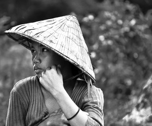 asia, b&w, and backpacking image
