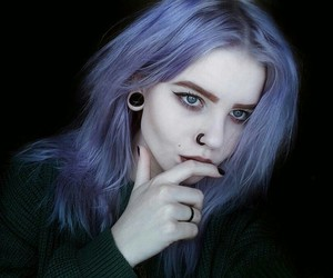 hair colour, black, and pircing image