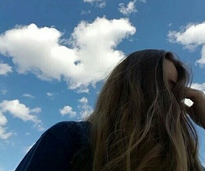 girl, sky, and blue image