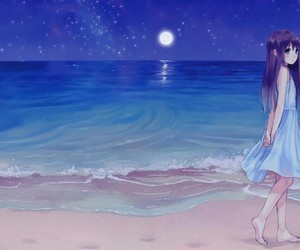 anime, girl, and beach image