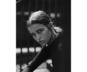 black and white, lips, and fashion image