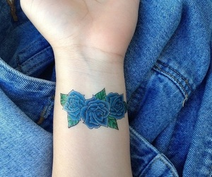 blue, tattoo, and flowers image