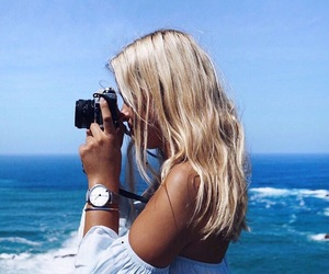 blonde, blue, and camera image