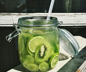kiwi, drink, and fruit image