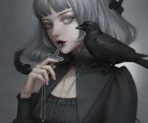 crow, goth, and kawaii image