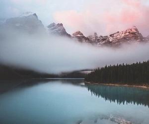 fog, lake, and mountains image