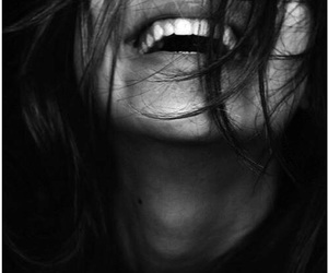 smile, happy, and black and white image