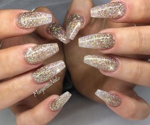 gold, glitter, and nails image