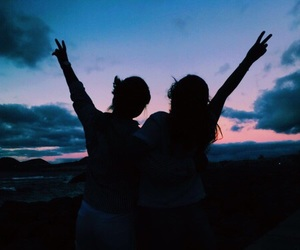 best friends, sunset, and summer nights image