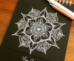 art, mandala, and white image