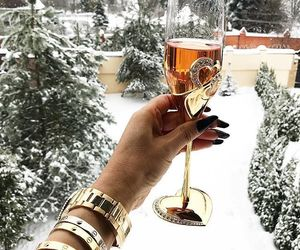 winter, snow, and champagne image