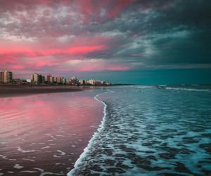 beach, city, and blue image