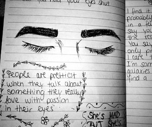 book, drawing, and eyes image