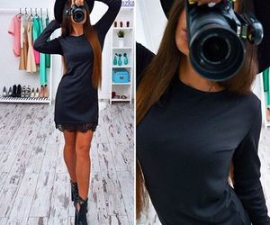 beauty, black dress, and hat image