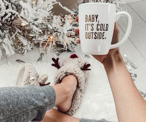 christmas, snow, and coffe image