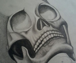 artwork, pencil, and skull image