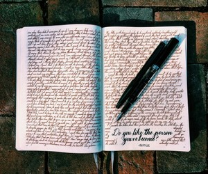 black, hand writing, and pen image