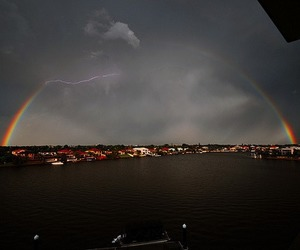 rainbow, sky, and city image