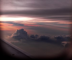 clouds, airplane, and nature image