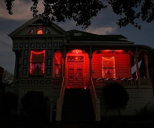 red, house, and dark image