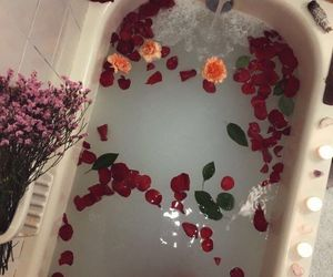 flowers, tumblr, and bath image