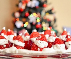 christmas, strawberry, and santa image