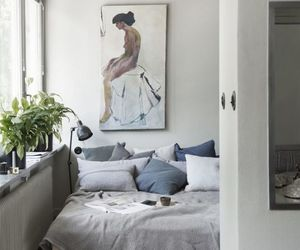 art, gray, and bedroom image