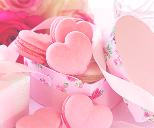 food, macaroons, and hearts image