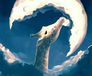 moon, giraffe, and art image