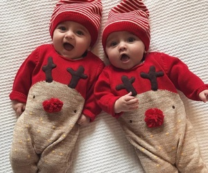 baby, christmas, and red image