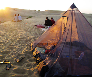 beach, camping, and sunset image
