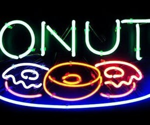 donuts, neon, and light image