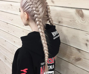 blonde, braids, and hairstyle image