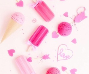 ice-cream, pink, and wallpaper image
