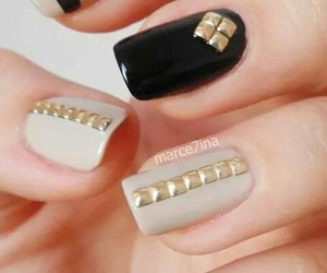 beige, nails, and black image