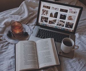 book, candle, and coffe image