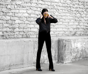fashion blogger, street style, and velvet pants image
