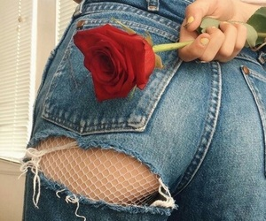 aesthetic, denim, and roses image