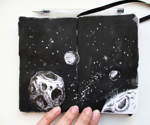 art, cosmos, and ink image