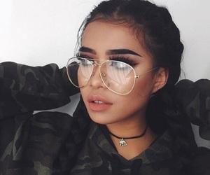 girl, makeup, and glasses image
